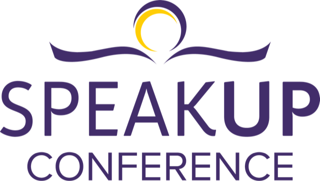 Purple and yellow logo that says 'speak up conference'